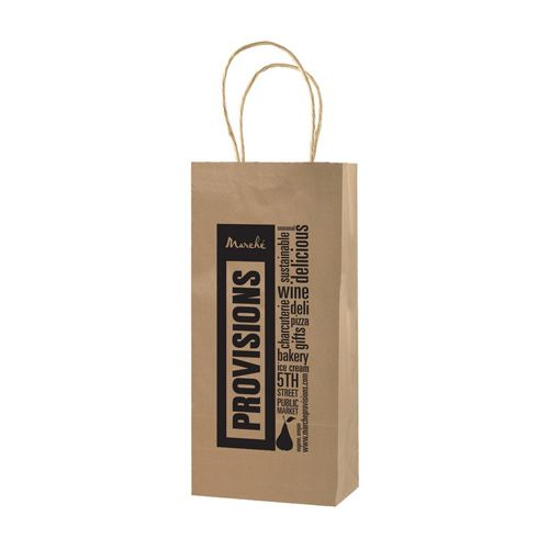 Imprinted Natural Kraft Shopping Bags - detailed view 1
