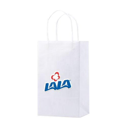 Imprinted White Kraft Shopping Bags - detailed view 1