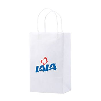 Imprinted White Kraft Shopping Bags - thumbnail view 1