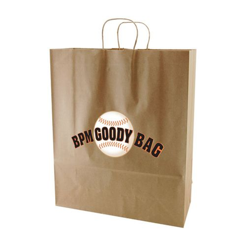 Imprinted Recycled Kraft Shopping Bags - detailed view 3