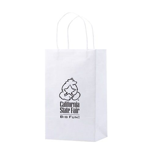 Imprinted Recycled White Shopping Bags - detailed view 2