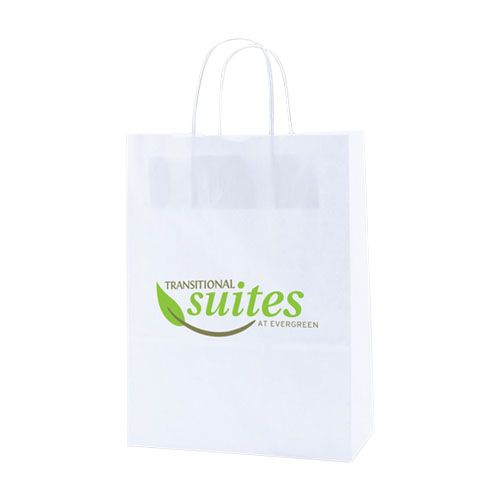 Imprinted Recycled White Shopping Bags - detailed view 3