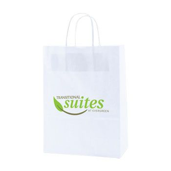 Imprinted Recycled White Shopping Bags - thumbnail view 3
