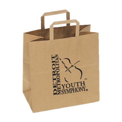 Imprinted Flat Handle Shopping Bags - detailed view 1